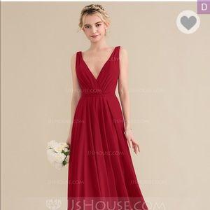 Floor Length Burgundy Bridesmaid/Formal Dress